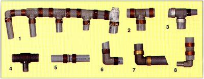 Polybutylene piping, plastic insert fittings with aluminum bands
